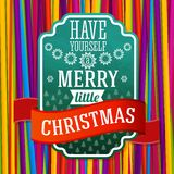 Vintage stylized green Merry Christmas label, with Royalty Free Stock Images