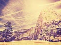Vintage stylized nature mountain background, USA. Stock Images