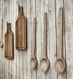 Vintage stylized photo of cutting boards and wooden spoons Royalty Free Stock Photography