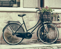 Vintage stylized photo of Old bicycle carrying flowers Royalty Free Stock Image
