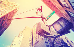 Vintage stylized photo of pedestrian traffic lights in Manhattan Royalty Free Stock Photography