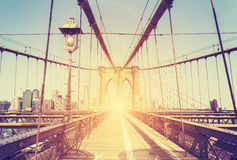 Vintage stylized picture of Brooklyn Bridge, NY. Royalty Free Stock Photos