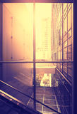 Vintage stylized picture of modern office at sunset, NYC, USA. Royalty Free Stock Photography