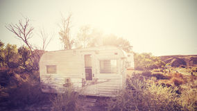 Vintage stylized picture of old trailers, USA countryside Royalty Free Stock Images