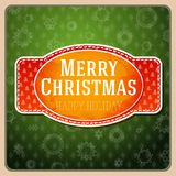 Vintage stylized red Merry Christmas label, Royalty Free Stock Images