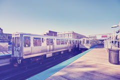 Vintage stylized subway trains on platform in Chicago. Royalty Free Stock Photography