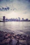 Vintage stylized sunset over New York City, USA.  Royalty Free Stock Image