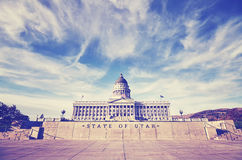 Vintage stylized Utah State Capitol building in Salt Lake City. Vintage stylized photo of Utah State Capitol building in Salt Lake City, USA Stock Image