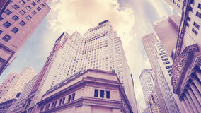 Vintage stylized Wall Street in New York City, USA Stock Photography