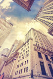 Vintage stylized Wall Street in New York City, USA Royalty Free Stock Photo