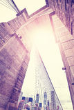 Vintage stylized wide angle picture of Brooklyn Bridge, NYC. Royalty Free Stock Photo