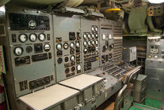 Vintage submarine control room stock photography