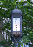 Vintage subway sign, Manhattan, New York. USA Royalty Free Stock Photos