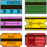 Vintage subway tickets Stock Photos