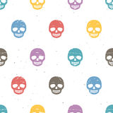 Vintage sugar skulls. Seamless pattern on white background. Stock Photo