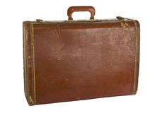 Vintage suit case back side on white Stock Images