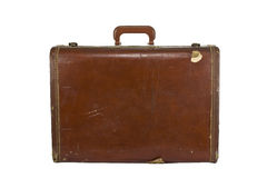 Vintage suit case front side on white Royalty Free Stock Image