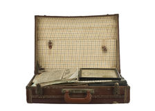 Vintage suit case open on white Royalty Free Stock Photography