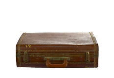 Vintage suit case top side on white Royalty Free Stock Photography