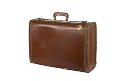 Vintage suit case on white Stock Photos