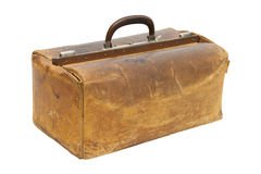 Vintage suitcase. Vintage leather brown suitcase, isolated on white Stock Photography