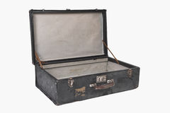 Vintage suitcase. Well-traveled vintage suitcase, open, isolated on white background Stock Image