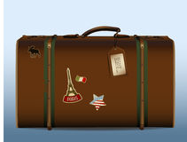 Vintage suitcase. Realistic illustration of a vintage suitcase with tag and different stickers Royalty Free Stock Photo