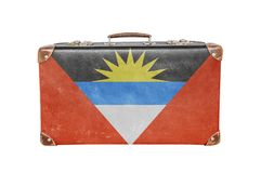 Vintage suitcase with Antigua Barbuda flag. Close Royalty Free Stock Photography