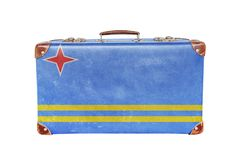 Vintage suitcase with Aruba flag Stock Photo