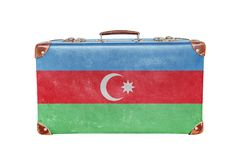 Vintage suitcase with Azerbaijan flag Royalty Free Stock Images