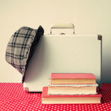 Vintage Suitcase and books royalty free stock image