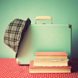 Vintage Suitcase and books Royalty Free Stock Photo