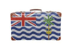 Vintage suitcase with British Indian Ocean Territory flag Stock Photography