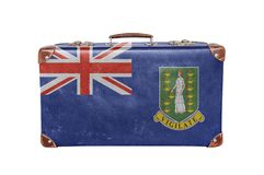 Vintage suitcase with British Virgin Islands flag Royalty Free Stock Photos