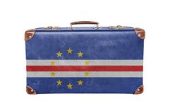 Vintage suitcase with Cape Verde flag Royalty Free Stock Image
