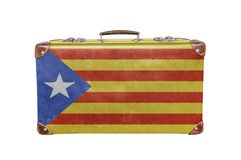 Vintage suitcase with Catalonia flag Royalty Free Stock Images