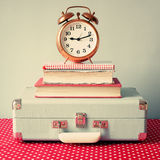 Vintage Suitcase and clock Stock Photos