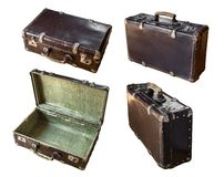 Vintage suitcase collage on white. Open, closed, front and side views. royalty free stock images