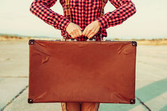 Vintage suitcase, copy-space Stock Photos