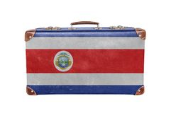 Vintage suitcase with Costa Rica flag Royalty Free Stock Photography