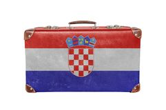 Vintage suitcase with Croatia flag Stock Photography
