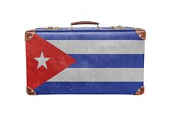 Vintage suitcase with Cuba flag Royalty Free Stock Images