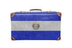 Vintage suitcase with El Salvador flag. Close stock photos