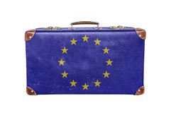Vintage suitcase with European Union flag. Close Royalty Free Stock Images