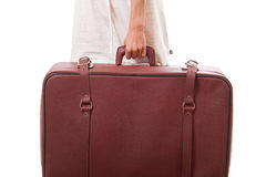 Vintage suitcase in female hands Royalty Free Stock Image