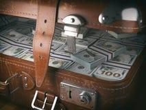 Vintage suitcase full of money. Business emigration concept back royalty free illustration