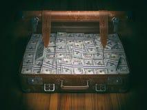 Vintage suitcase full of money. Business emigration concept back stock illustration