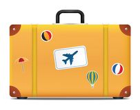Vintage suitcase with funky stickers Royalty Free Stock Photography