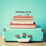 Vintage Suitcase and glasses royalty free stock image