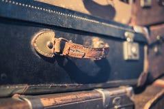 Vintage suitcase handle closeup - old suitcase macro - Royalty Free Stock Photos